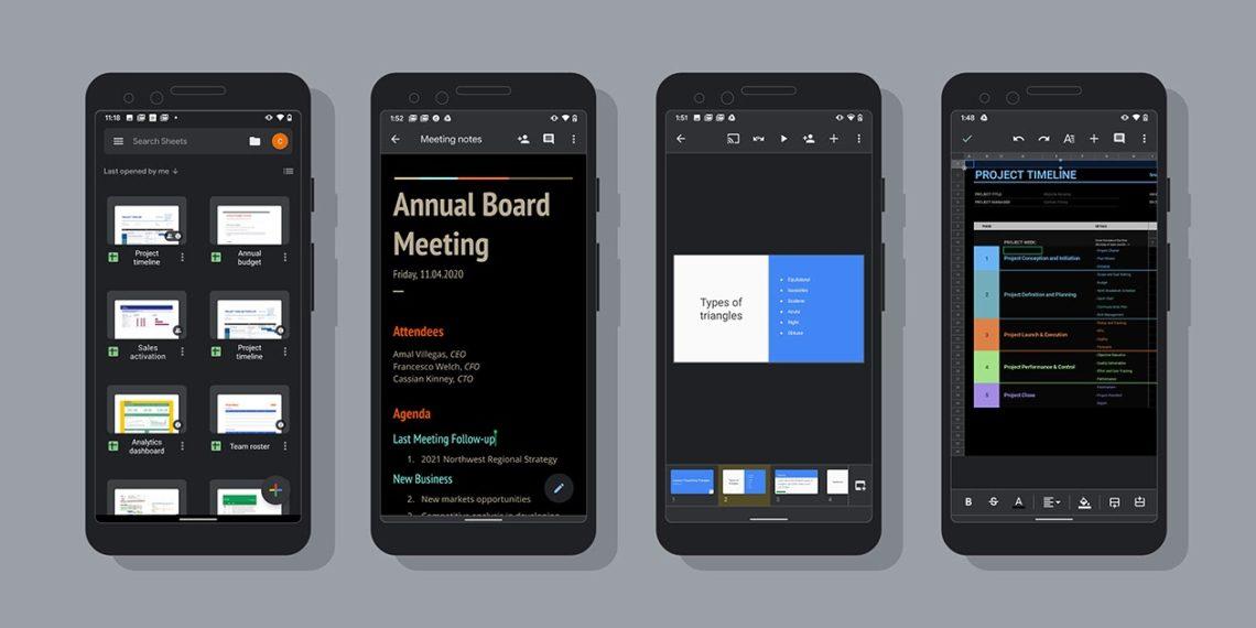 Modo escuro ativado nos aplicativos Documentos, Planilhas e Apresentações