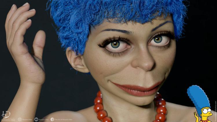Marge Simpson em modelo 3D, pelo artista Hossein Diba