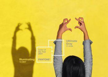 PANTONE 17-5104 Ultimate Gray + PANTONE 13-0647 Illuminating são as cores de 2021 | Imagem: Pantone
